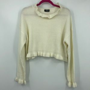 Hera Collection Off White Knit Ruffle Neck Sweater